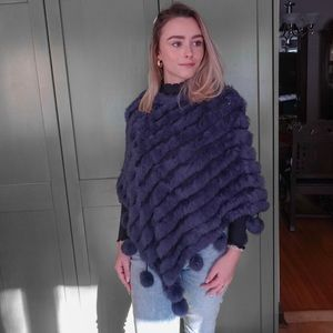 Sweaters - Recycled rabbit fur poncho